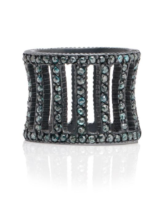 Yossi Harari | Metallic Lilah Oxidized Silver Cage Ring With Blue Diamonds | Lyst