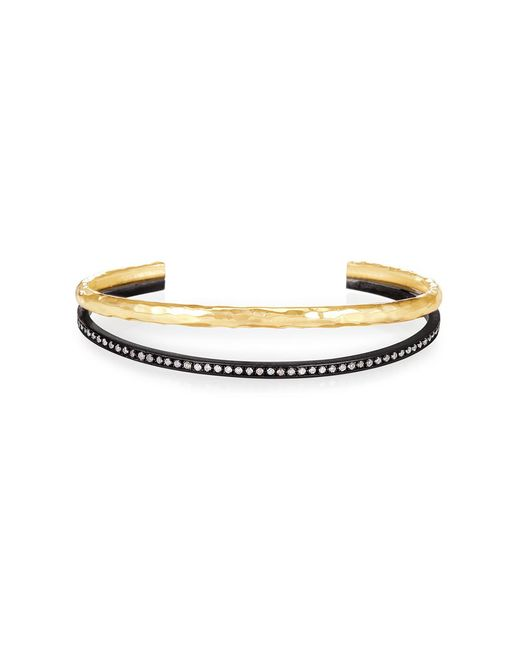 Nancy Newberg - Metallic Oxidized Silver And Yellow Gold Double Bangle - Lyst