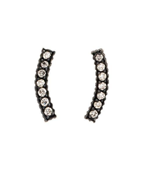 Yossi Harari | Metallic Lilah Gilver Curved Diamond Pave Stud Earrings | Lyst