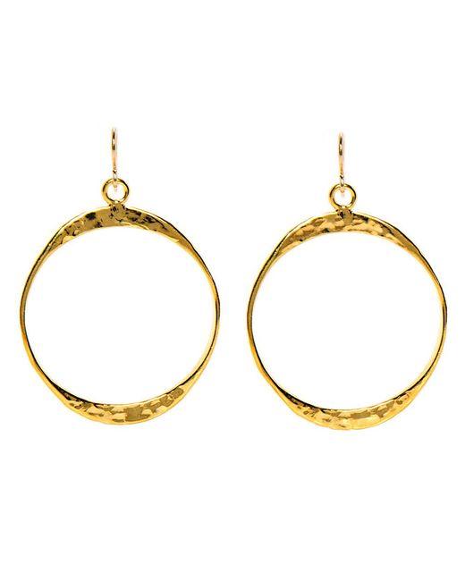 Devon Leigh - Metallic Hammered Gold Round Drop Hoop Earrings - Lyst