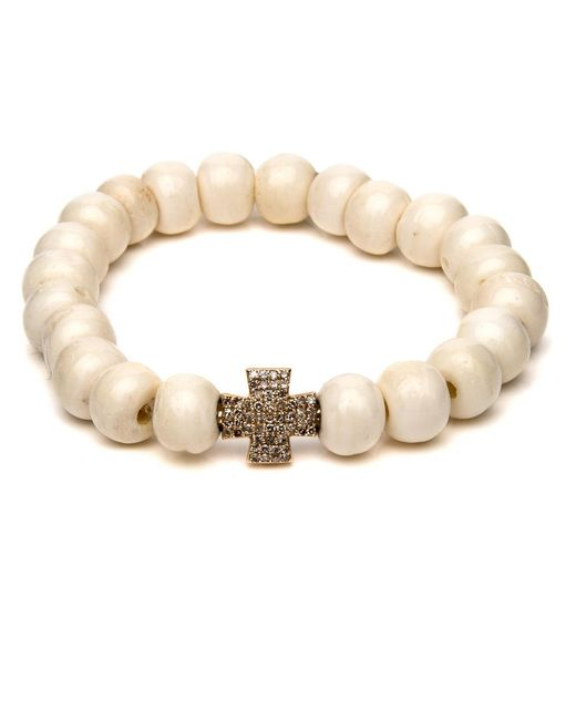 Loree Rodkin | Metallic Bone Bead Cross Bracelet | Lyst
