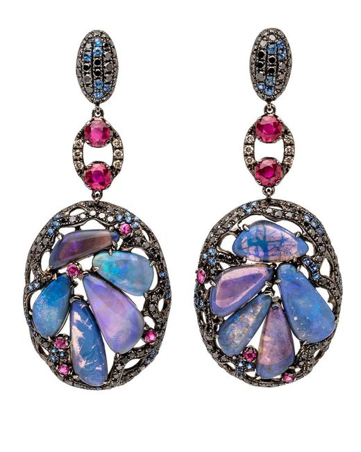 Wendy Yue | Blue Opal Cluster Earrings | Lyst