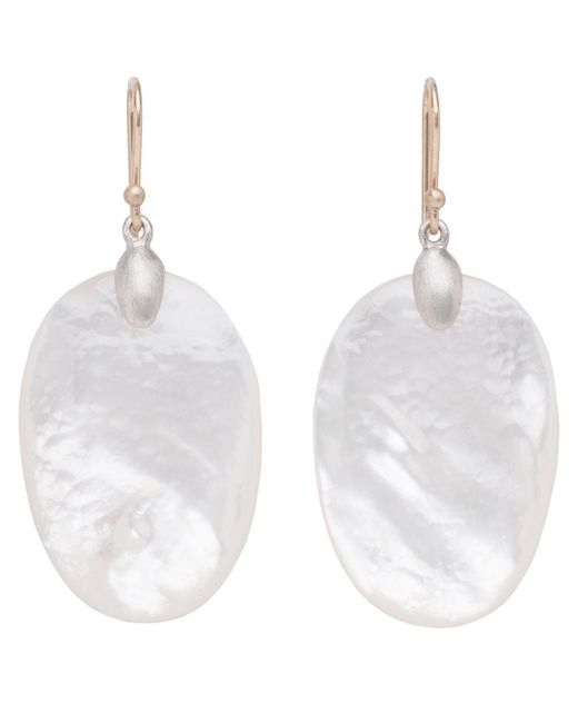 Ted Muehling - Metallic Mop Large Chip Earrings - Silver Top - Lyst