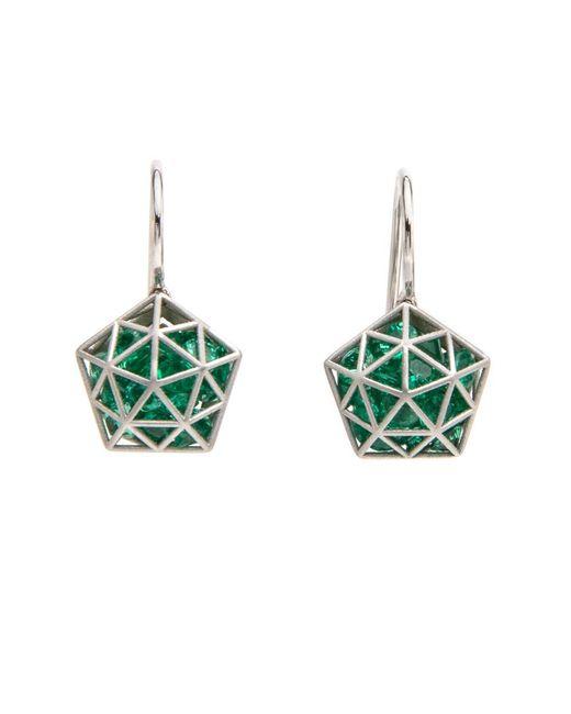 Roule & Co. - Green Brilliant Cut Emerald Pentagon Shaker Earrings - Lyst