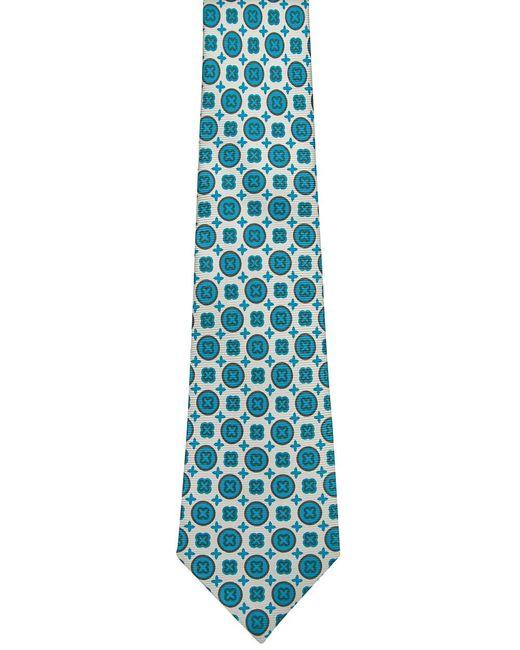 Kiton Black Ivory With Aqua Geometric Tie for men