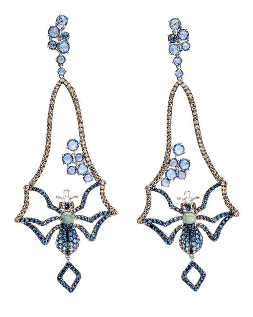 Wendy Yue - Blue Sapphire Spider Earrings - Lyst