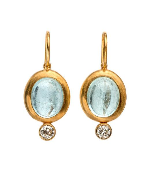 Darlene De Sedle | Blue Cabochon Aqua Earrings With Bezel Set Diamond | Lyst