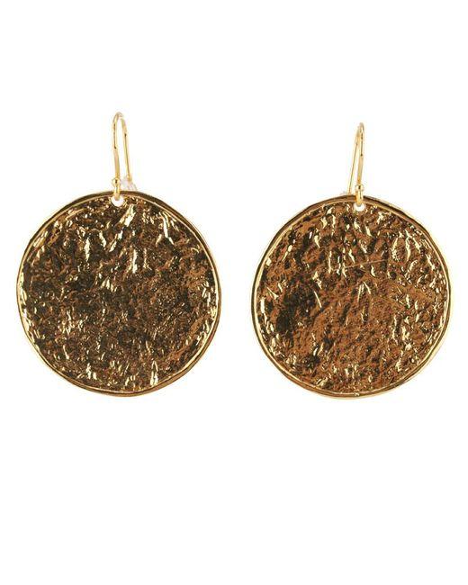 Nest - Metallic Textured Gold Disc Earrings - Lyst
