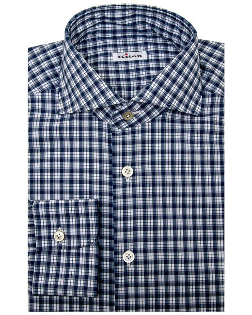 Kiton - Blue Plaid Dress Shirt for Men - Lyst