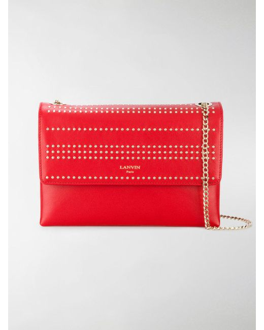Lanvin - Red Studded Sugar Shoulder Bag - Lyst