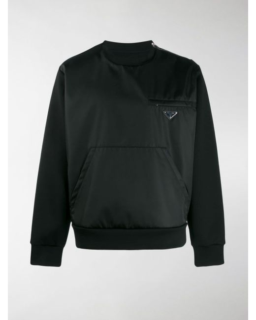 Prada Black Technical Logo Sweatshirt for men