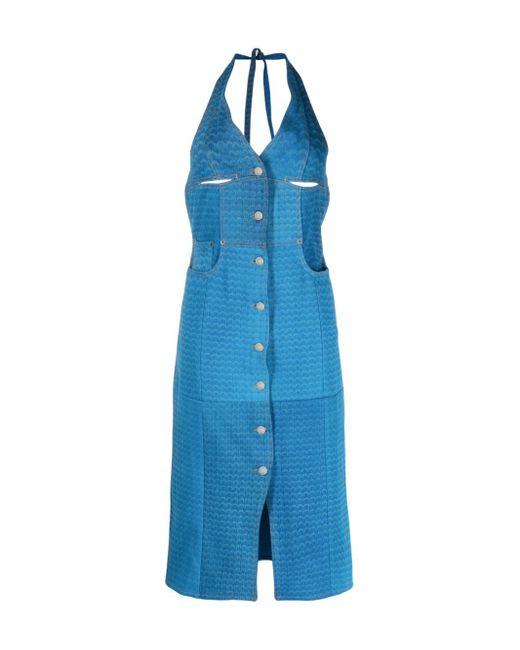 MARINE SERRE Blue Moon-print Denim Dress