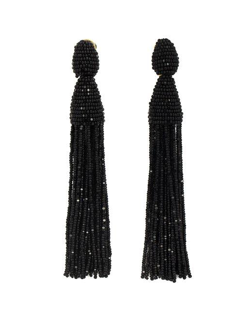 Oscar de la Renta | Black Tassel Clip-on Earrings | Lyst