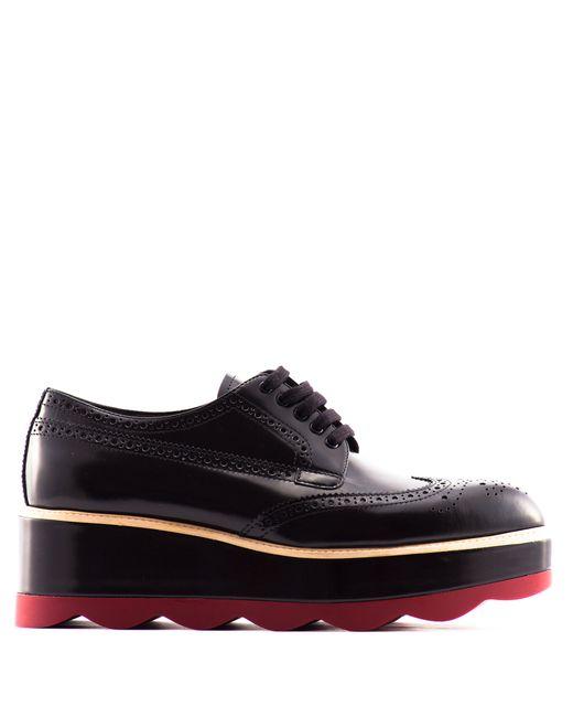 prada platform leather derby shoes in black lyst