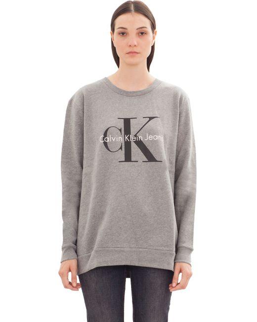 Calvin Klein Jeans Jumper Lettering Logo In Grey Lyst