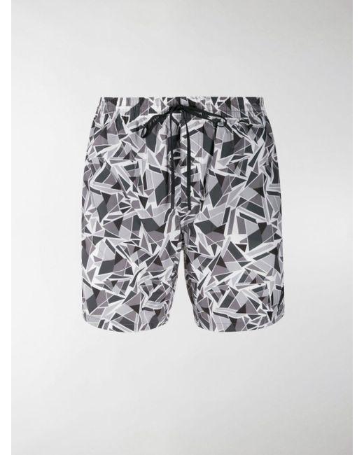 Fendi Gray Geometric Print Swim Shorts for men