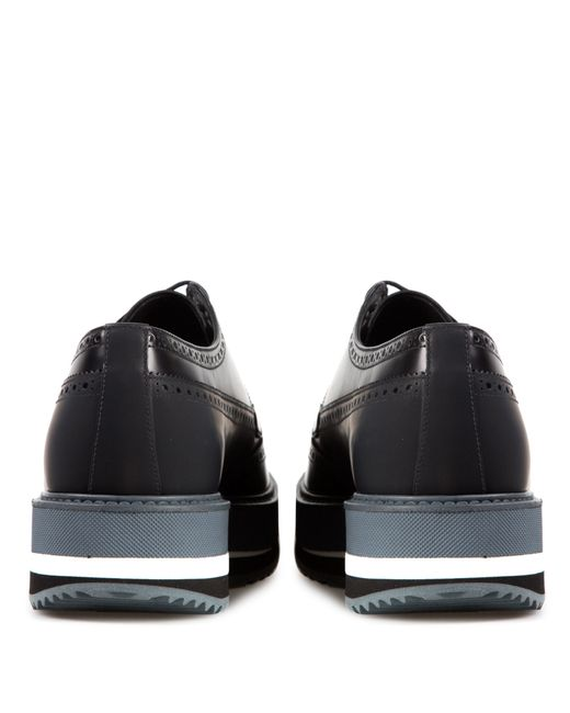 prada leather derby shoes with platform in black for