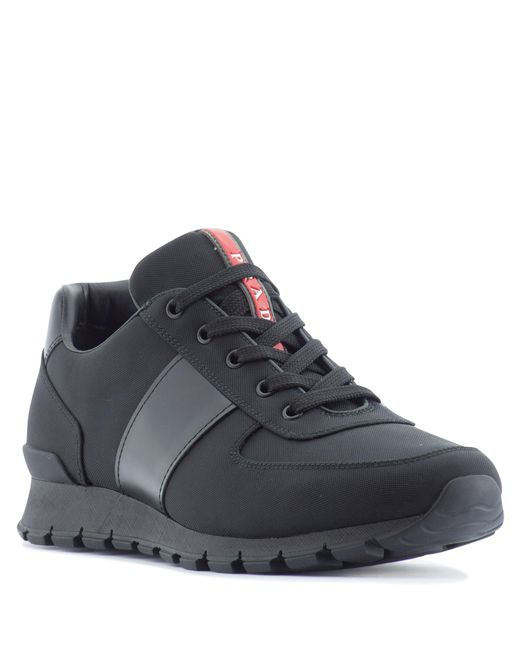 Prada Leather Low Top Trainers In Black For Men Lyst