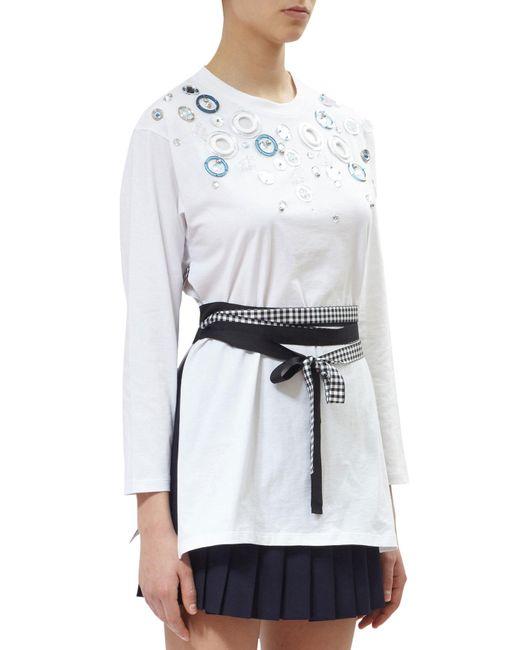 Miu miu embellished cotton t shirt in white lyst for Miu miu t shirt