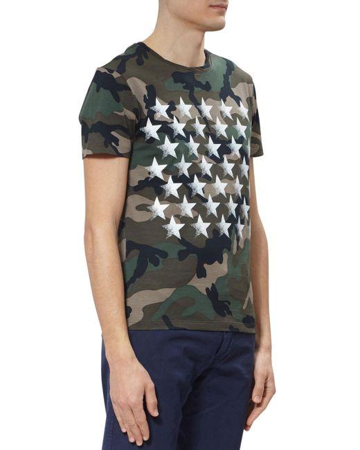 Valentino Camo Star Print Cotton T Shirt For Men Lyst