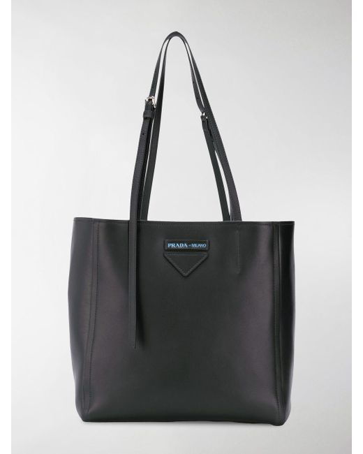 a619178c6aa848 Prada - Black Small Concept Leather Tote - Lyst ...