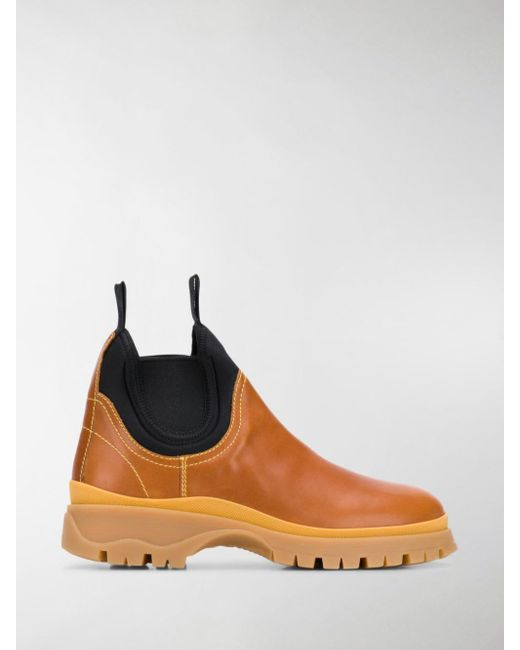 Prada - Brown Panelled Slip-on Boots - Lyst
