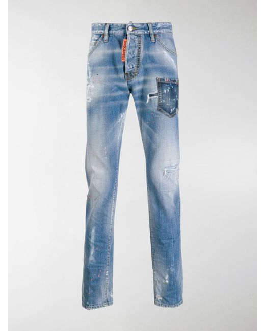 ed9949496b8 DSquared² - Blue Distressed Rave On Jeans for Men - Lyst ...