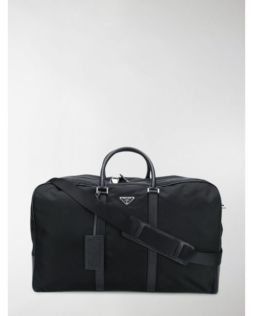Prada - Black Saffiano Panel Holdall for Men - Lyst