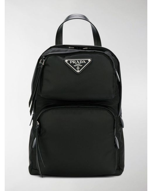 07b0f3600332 ... spain prada black one shoulder nylon backpack lyst e0667 2b115