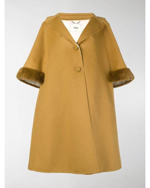 Fendi Yellow A-line Cropped Sleeve Coat