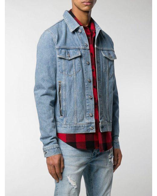 5af9fcb6 ... Balmain - Blue Embroidered Logo Denim Jacket for Men - Lyst ...