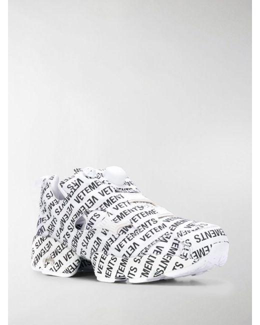 Vetements. Women s White + Reebok Instapump Fury Logo-print Leather And  Mesh Trainers 1102e2efe