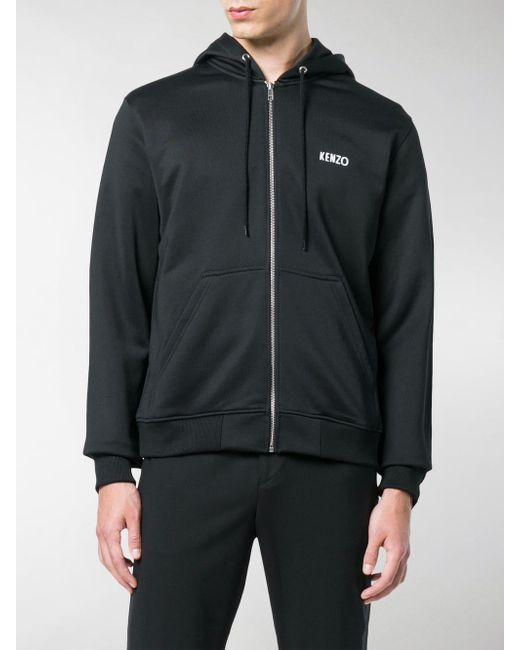 25b7f454c ... KENZO - Black Dragon Embroidery Zip Front Hoodie for Men - Lyst ...
