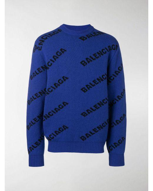 Balenciaga Blue Logo Intarsia Wool Sweater for men