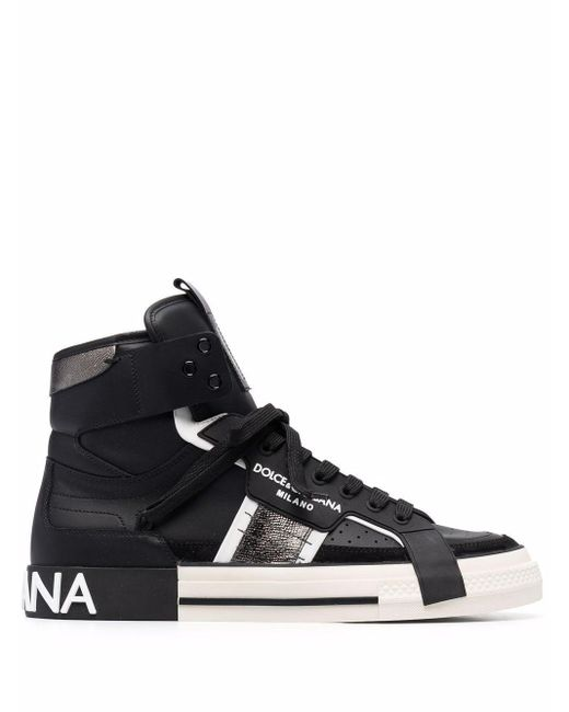 Dolce & Gabbana Black High-top Lace-up Sneakers for men