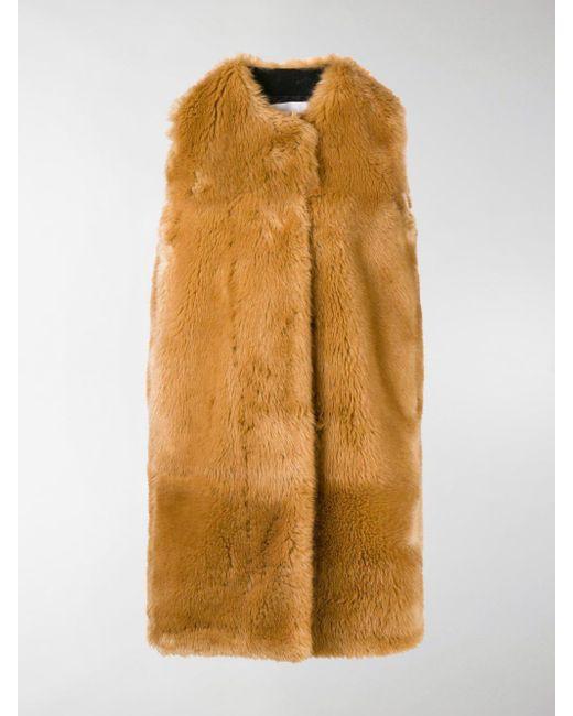 MSGM - Brown Faux Fur Long Gilet - Lyst