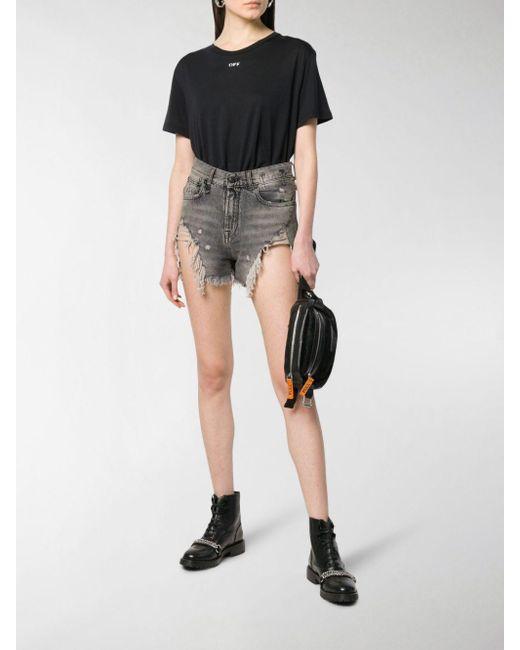 R13 Women's Black Shredded Ripped Hem Denim Shorts