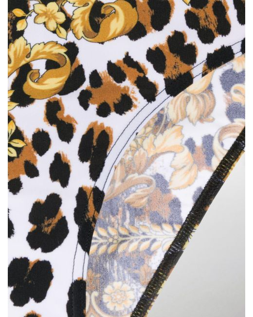 Versace Women's Yellow Baroque Leopard-print Bikini Bottoms
