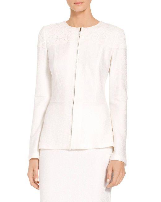 St. John - White Caris Knit Jewel Neck Jacket - Lyst