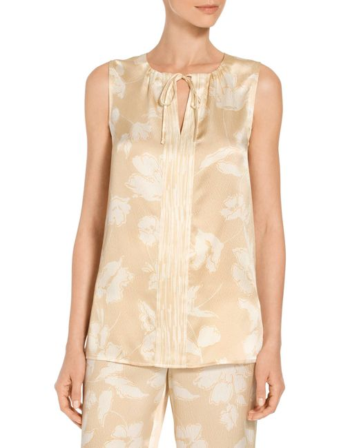 St. John - Natural Painted Floral Hammered Satin Silk A-line Shell - Lyst