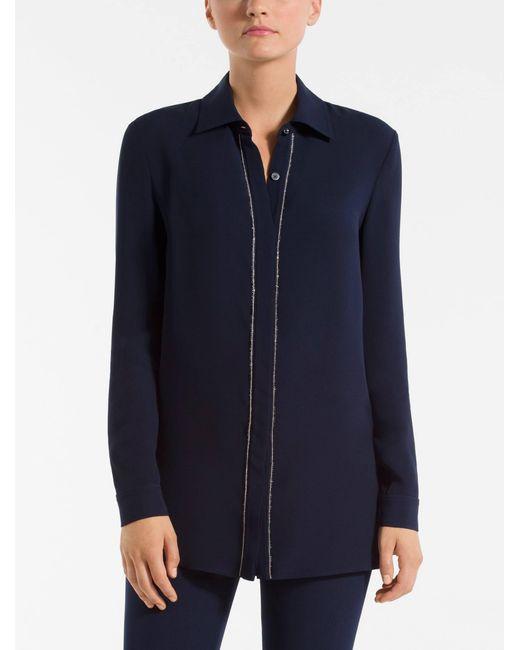 St. John - Blue Embellished Silk Georgette Shirt - Lyst