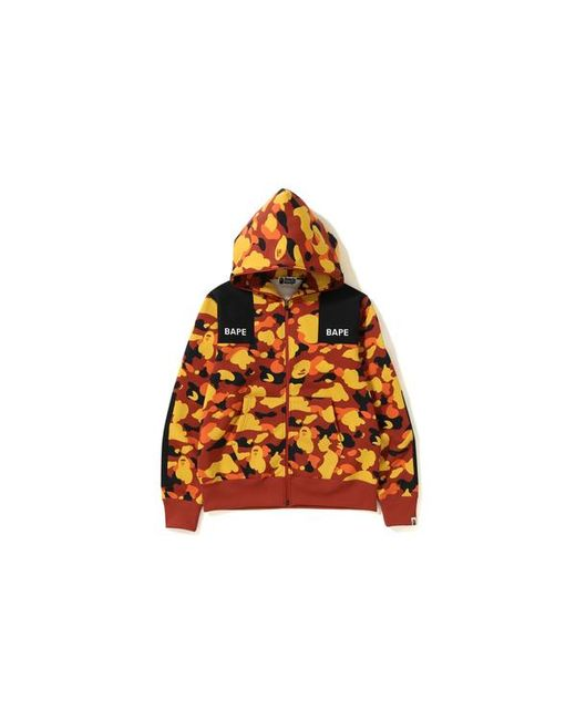 286dbc2e A Bathing Ape 1st Camo Patched Wide Full Zip Hoodie Orange in Orange ...