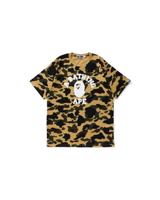 4e8ee619 A Bathing Ape - Ultimate 1st Camo College Logo Tee Yellow for Men - Lyst