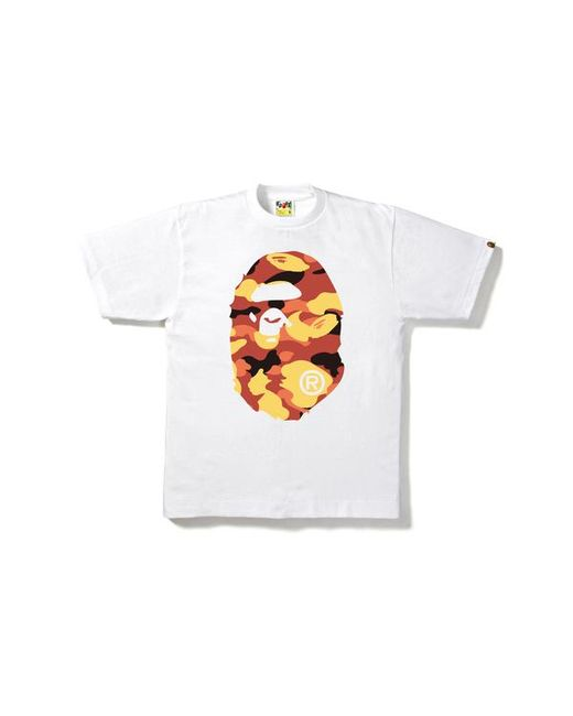 8408f8eb A Bathing Ape 1st Camo Big Ape Head Tee White/orange in White for ...