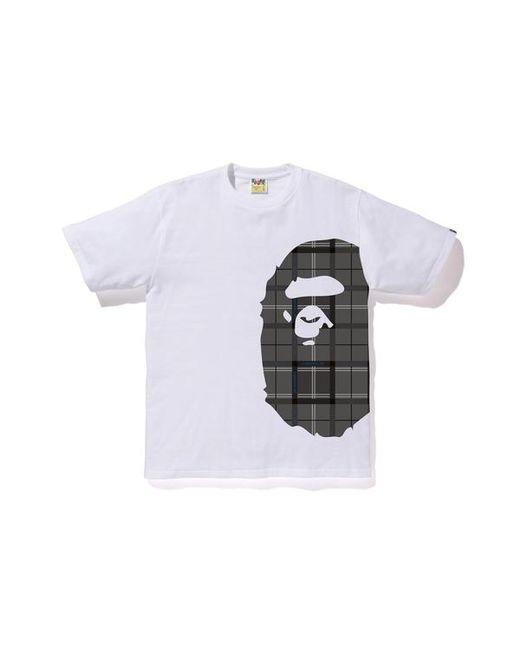 be6388cd Lyst - A Bathing Ape Logo Check Side Big Ape Head Tee Whtie/black in ...
