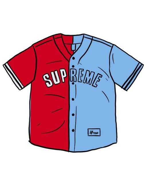 メンズ Supreme Don't Hate Baseball Jersey Red