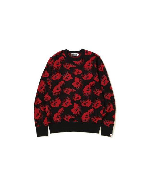 8961ada56 A Bathing Ape Fire Pattern Knit Black in Black for Men - Lyst