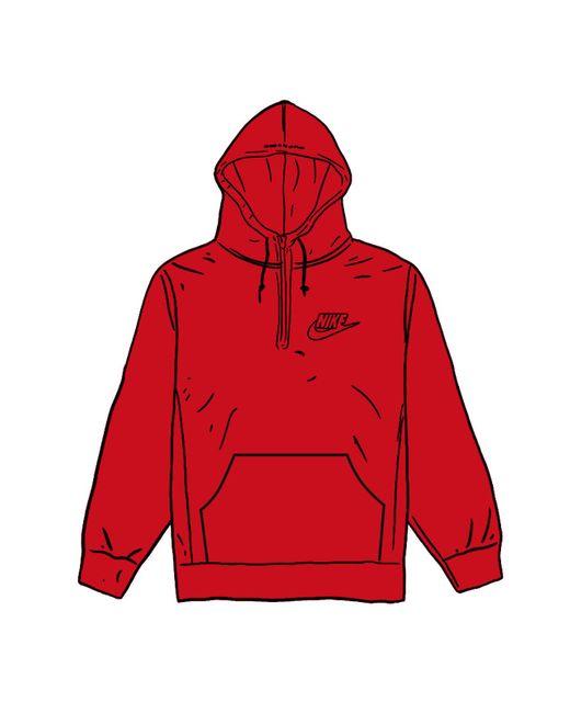 Supreme Red Nike Half Zip Hooded Sweatshirt for men