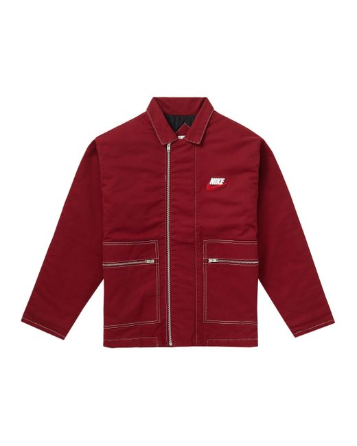Supreme Red Nike Double Zip Quilted Work Jacket for men