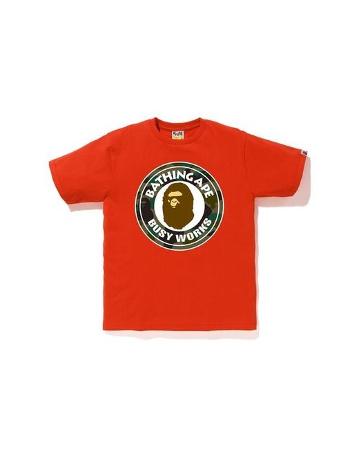 A Bathing Ape Red 1st Camo Busy Works Tee for men